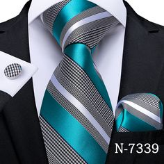 Mens Wedding Ties, Wedding Bands, Cufflink Set, Tie And Pocket Square, Mens Fashion Suits, Well Dressed Men, Stylish Men, Business Fashion, Green And Grey