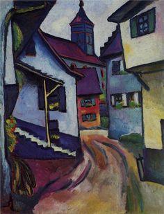 August Macke (1887-1914) was een Duits kunstschilder, wiens werk behoort tot het Duits expressionisme. Via Franz Marc komt Macke in contact met de andere leden van der B R, zoals  Kandinsky en wordt ook lid.. Het uitbreken van de oorlog maakt aan alles een abrupt eind. In september 1914 moet Macke het leger in en sneuvelt hij. Ook Franz Marc zou in de Eerste Wereldoorlog overlijden en door de dood van beide kunstenaars komt er een einde aan der Blaue Reiter