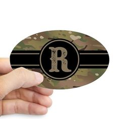 40f19b44765 Army Camouflage Monogram: Letter R Sticker (Oval) on CafePress.com Air Force