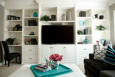 """CHIC MEDIA ROOM...view of entire bookcase - Love the 2 """"desk"""" spaces for laptops - homework areas"""