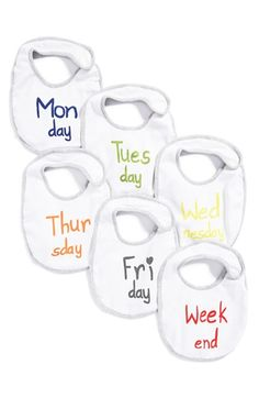 Nordstrom Baby 'Day of the Week' Bib Set (6-Pack) available at #Nordstrom #anniversarysale
