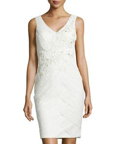 Embroidered Ruched Cocktail Dress, Ivory by Sue Wong at Neiman Marcus Last Call.