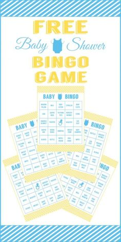 Get a full set of free printable bingo game cards for your boy baby shower!