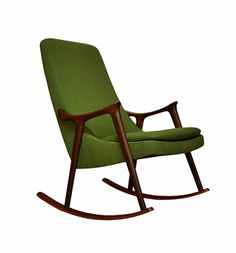Mid Century Danish Modern Rocking Chair In Avocado Teak 70s Furniture