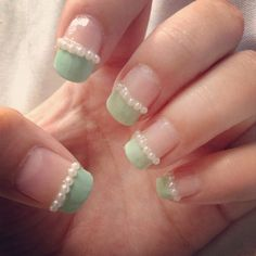Nails of the week! Mint green pearl nails inspired by cutepolish and spring!