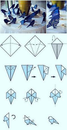 Bec crochu. Butterfly Oragami, Origami Flowers, Origami Birds, Origami Folding, Diy Origami, Paper Crafts Origami, Diy Paper, Paper Crafting, Origami Step By Step