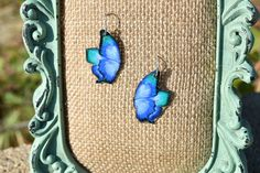 Blue and Green Butterfly Earrings by ValeriesVanityMirror on Etsy