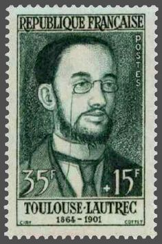 France : : 35f + 15f (semipostal/charity stamp), issued on 7 June 1958, featuring French artist, Toulouse Lautrec