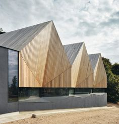 Swimming pool for a school in Beaconsfield, London | Dark grey walls contrast with the light timber slats