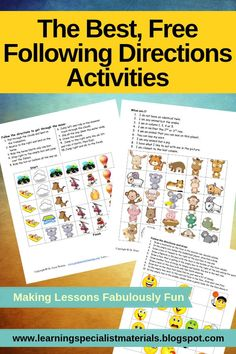 free activities that strengthen linguistic skills, attention, spatial skills and listening skills. Speech Therapy Activities, Fun Activities, Play Therapy, Therapy Ideas, Help Teaching, Teaching Resources, Following Directions Activities, Working Memory, Reading Specialist