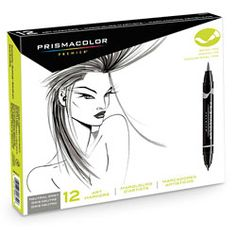 PRISMACOLOR® Premier® Double-Ended Brush/Fine Art Markers — 12-Color Set, Neutral Gray. Two tips in one! Use the brush tip for larger areas and the fine tip for details. Ideal for fashion, design, and hobby applications. One ink source ensures color consistency from end to end. Includes roll-resistant caps.