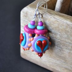 Pink Earrings  Heart Earrings Lampwork Earrings Glass by bstrung, $32.00