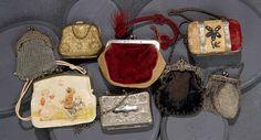 Eight 19th Century Miniature Handbags for Dolls.