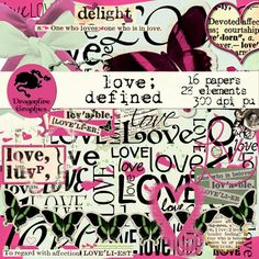 Love : Defined digital scrapbooking kit collection - 45 elements - $3.00 : ScrapPNG, Digital Craft Graphics