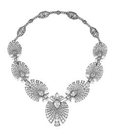 DIAMOND NECKLACE, 1930S. Designed as seven graduated palmettes, each centring on a pear-shaped diamond in a cut-down collet, highlighted with circular-, single and rose-cut diamonds, to a back chain millegrain-set with circular- and single-cut diamonds, composed of elongated octagonal links alternating with three collet-set diamonds, 1920s,  fitted case signed Rath, Munchen.