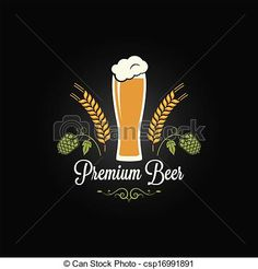 Vector - beer glass hops barley design menu - stock illustration, royalty free illustrations, stock clip art icon, stock clipart icons, logo, line art, EPS picture, pictures, graphic, graphics, drawing, drawings, vector image, artwork, EPS vector art