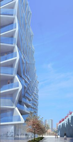 A new 520 unit 24-story high-rise housing project located in downtown Los Angeles.