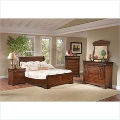 Largo Furniture LARGO-WG-B4300-LOPRO-SET E Low Profile Sleigh Bedroom Set Brown Cherry