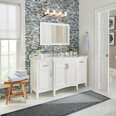 Home Decorators Collection Sassy 60 in. Vanity in White with Marble Vanity Top in Carrara White - The Home Depot Wooden Bathroom Vanity, Led Bathroom Vanity Lights, White Bathroom, Bathroom Faucets, Modern Bathroom, Bathroom Ideas, Bathrooms, Bathroom Designs, Master Bathroom