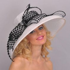 """White 8"""" Derby Hat/Black Check Bow...just add the """"little black dress""""!"""