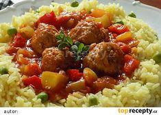 Masové kuličky v paprikové omáčce recept - TopRecepty.cz Penne, Pork, Treats, Cooking, Ethnic Recipes, Sweet, Meatball, Red Peppers, Kale Stir Fry