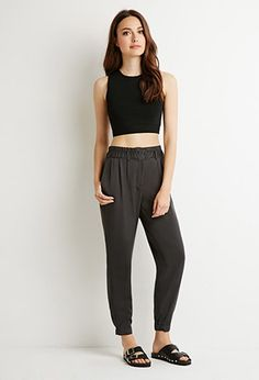 Contemporary Pleat-Front Woven Joggers   Forever 21 - 2000136247