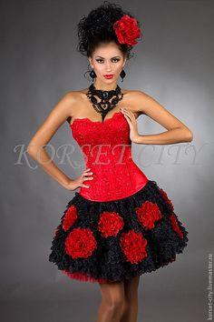 Купить Утягивающий корсет «Любовный романс» красный с кружевом - ярко-красный, корсет, корсет утягивающий Corset Belt, Hourglass Figure, N Girls, Cute Skirts, Kawaii Fashion, Lady In Red, Tutu, Strapless Dress, Formal Dresses