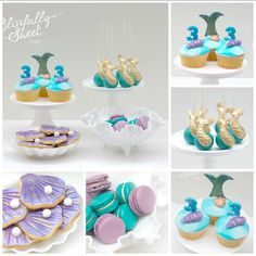 """B L I S S F U L L Y S W E E T on Instagram: """"Mystical mermaid desserts for a party today. Mermaid tail and seashell cupcakes, oyster shell cookies by #blissfullysweet Macarons by @jho1e_itsacakething Cake pops by @jho1e_itsacakething and pimped up with golden mermaid tails by #blissfullysweet #blissfullysweetcakes #mermaid #mermaidparty #mermaiddesserts"""""""