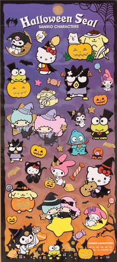 funny Hello Kitty Halloween stickers with gold metallic by Kamio from Japan 2 Hello Kitty Halloween, Kawaii Halloween, Hello Kitty Birthday, Sanrio Wallpaper, Kawaii Stickers, Cat Stickers, Little Twin Stars, Hello Kitty Imagenes, Hello Kitty Tattoos