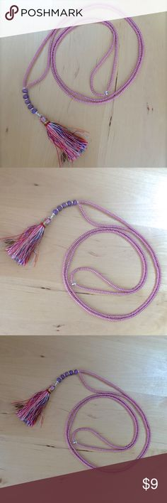 """Long Tassel Necklace new Handmade by AroisProducts Beaded necklace with tassel and opaque purple Czech glass rondelle beads.  Approx. 36"""" Long + 3"""" Drop  Glass Seed Beads / Czech Glass Beads / Thread Tassel AROIS Products Jewelry Necklaces"""