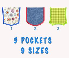 3 Pockets Applique Machine Embroidery Design 9 by Diartimagestitch