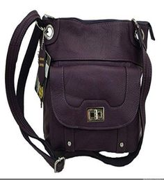 Concealed Carry Cross Body Leather Gun Purse with Slash Resistant Strap-Purple - Handbags, Bling & More!