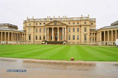 Neoclassical Architecture- large house with many pillars outside.