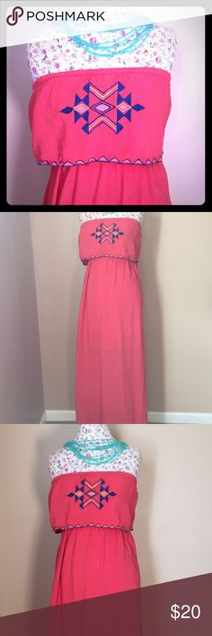 Coral high low maxi with Aztec detail - L Worn only a handful of times.  Beautiful spring color with great detail. High low -  liner underneath hits my knees and I am about 5'6. Dresses Maxi