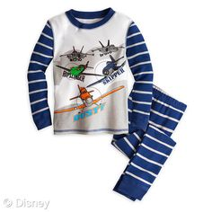 Planes PJ Pal for Boys  MSRP: $16.50 Retailers: Disney Store and DisneyStore.com Available: Now  Young aviators will enjoy high-flying dreams with this Planes PJ Pal for Boys. Dusty is joined by Skipper, Ripslinger, Echo and Bravo on these pajamas inspired by Disney's new aeronautical adventure Planes.