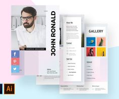 The template which is professionally developed for a job seeker to create an unforgettable impression acts as the best minimal and modern design to highlight Modern Resume Template, Cv Template, Resume Templates, Design Templates, Graphic Design Resume, Cv Design, Modern Design, Brand Board, Personal Branding