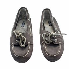 ✨HOST PICK✨ SPERRY TOP SIDER - Skiff Moccasin Graphite color, leather upper & man made sole. Front lacing detail. Only worn a few times - signs of worn / ageMade cozy with a soft faux fur inside the shoe (bottom & sides.) non-marking rubber outsole with wave-siping. (*SEE IN PICS* small water marks on outsides & back of shoe due to natural situations on flat leather shoes, hardly noticeable at all when wearing. Inside fur is roughed up from wearing with slight discolor in foot shape from…