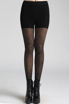 Heart Patterns Black Leggings