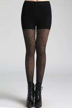 Heart Patterns Black Leggings