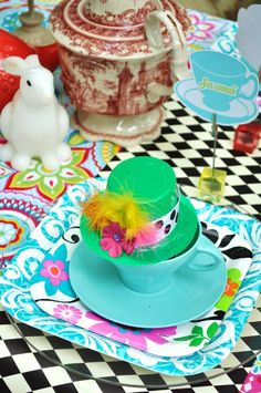 "DIY hat favor on headband.   Photo 1 of 35: Alice in Wonderland Mad Tea Party / Birthday ""Julia's 4th Unbirthday""   Catch My Party"