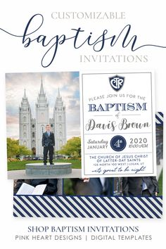 Send a custom baptism invitation to friends and family to announce your son's baptism day! Photos and text can be added in minutes by you! Click through to demo the design now! Baptism Announcement, Birth Announcement Template, Pink Invitations, Baptism Invitations, Baptism Program, Girl Baptism, Heart Designs, Lds, Jesus Christ