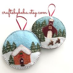 Christmas Village Ornaments / Set of 2 Ornament / Christmas Cottage Scene Orname. Christmas Village Ornaments / Set of 2 Ornament / Christmas Cottage Scene Ornaments / Xmas Village Ornaments / Cottage H. Snowman Christmas Ornaments, Felt Christmas Decorations, Christmas Centerpieces, Felt Ornaments, Glitter Ornaments, Beaded Ornaments, Christmas Felt Crafts, Handmade Ornaments, Handmade Christmas