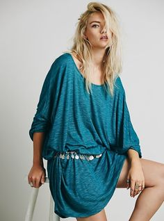 Majorly oversized American made heathered tee with a rounded neck.