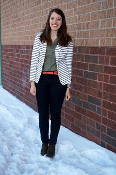 Stripes with a Hint of Pink | Style On Target | Old Navy stripe blazer, pink belt, black jeans