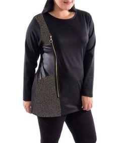 Loving this Black & Gold Zipper Tunic - Plus on #zulily! #zulilyfinds