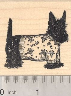 Christmas Scottish Terrier Dog in Sweater Rubber Stamp
