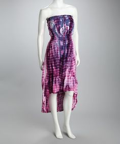 Take a look at this Fuchsia Tie-Dye Strapless Dress - Women by Ash & Sara on #zulily today!