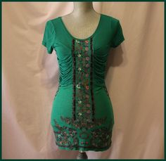Free People Green Blouse Size S Cap Sleeves Floral Front Embellishments