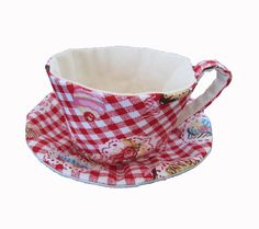 Fabric Teacup and saucerRed Gingham CupcakeMade to Order by miwary, $14.00  http://www.etsy.com/listing/94533275/fabric-teacup-and-saucer-red-gingham?ref=af_circ_favitem