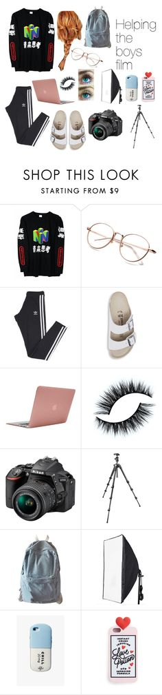 """""""helping the boys film"""" by gretachristine on Polyvore featuring adidas, Birkenstock, Incase, Nikon, Manfrotto, WithChic, Valfré, Miss Selfridge, joji and JojiMiller"""